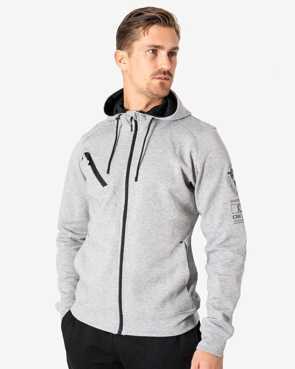 Tech Zipper Hoodie Grey Melange Men
